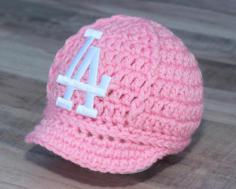 0de6f98b6 Girls Pink Dodgers Baby Hat Cap Outfit, Los Angeles Dodgers, Baby Gift  Newborn, Baseball Photo Prop, MLB - Knitted / Crochet, Handmade