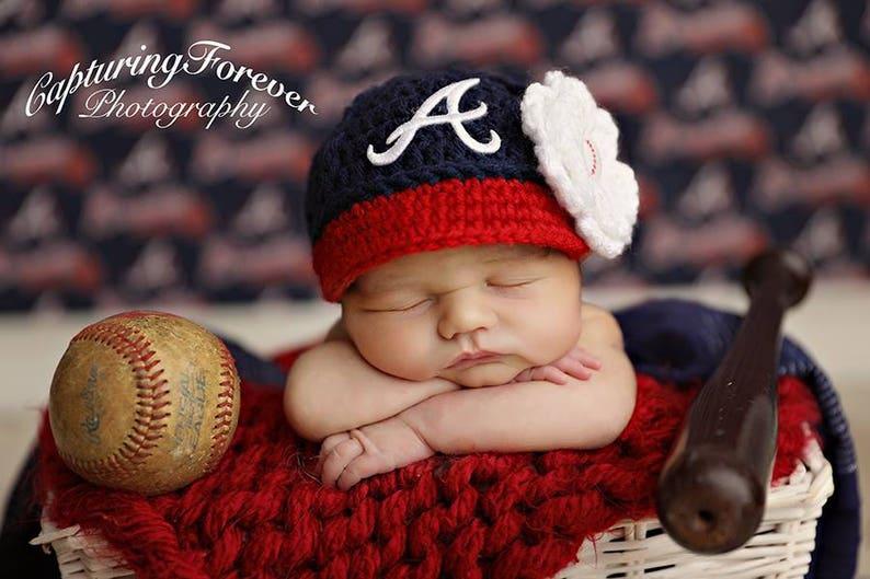 326cbafd2 Baby Girl Atlanta Braves - Hat Cap Outfit Knit / Crochet - Baby Girl Gift /  Newborn - Photo Photography Prop - Baseball, Handmade