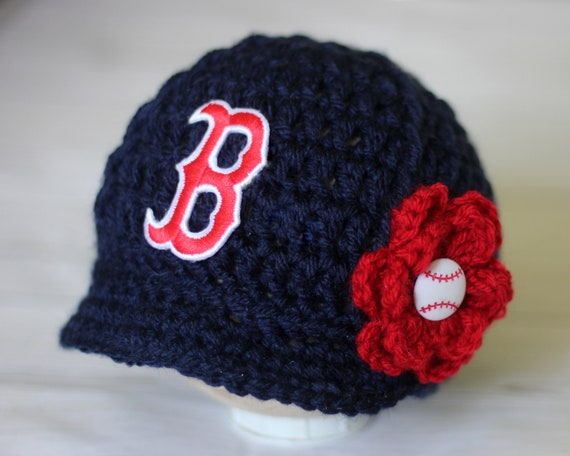 Baby Boston Red Sox Hat Knitted   Crochet Baby Girl Gift  eb6b7c8f051
