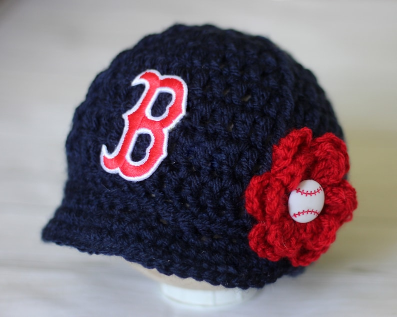 a492222520b Baby Boston Red Sox Hat Knitted   Crochet Baby Girl Gift
