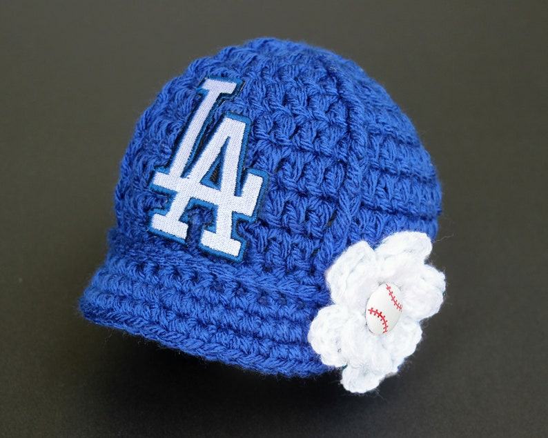 89cd6a7db07 Baby Girl LA Dodgers Hat Knitted   Crochet Baby Girl