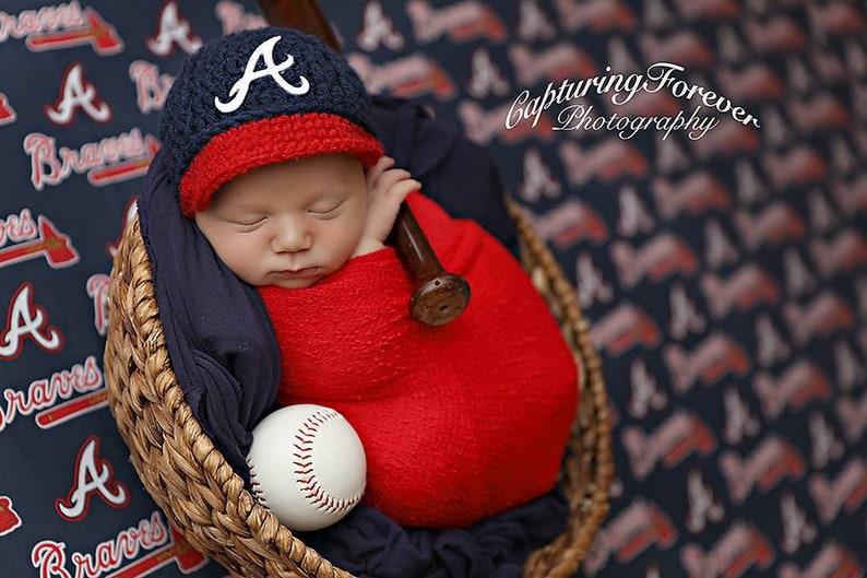 cc1b3b9fc Baby Atlanta Braves Hat Cap Knitted Crochet, Baby Gift, Newborn Photo  Photography Prop, MLB Baseball, Handmade