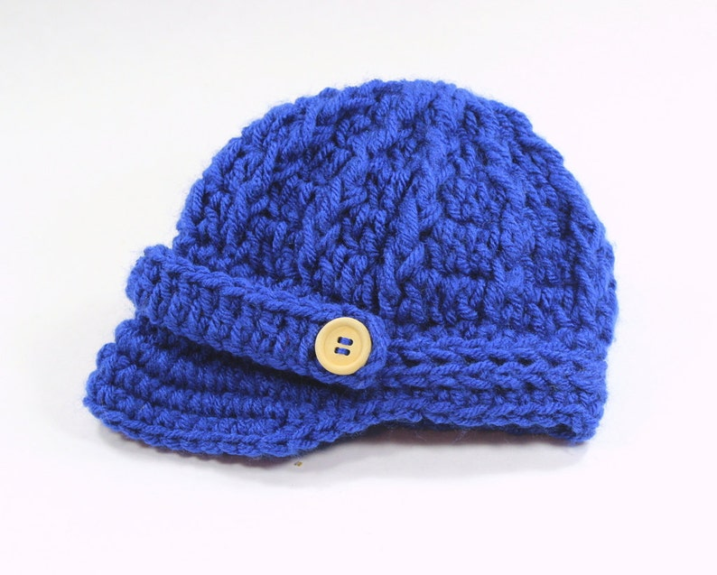 dedae6cdd Newborn Baby Boy Hat, Royal Blue Newsboy Cap, Brim Hat, Beanie, Knitted  Crochet, Baby Gifts, Coming Home Outfit, Baby Clothes, Photo Prop