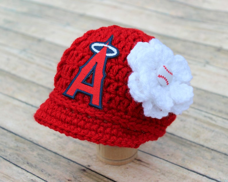 d4b30563137 Baby Girl L A Los Angeles Angels Hat Knit   Crochet Baby