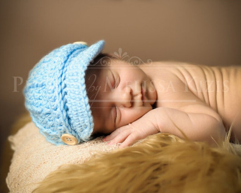 ce5390ae9 Blue Baby Boy Hat - Newsboy Cap / Brim / Beanie - Baby Gifts - Knit /  Crochet - Infant - Photo Photography Prop