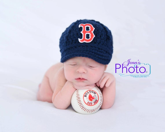 Baby Boston Red Sox Cap Hat Knit   Crochet Baby Gift    184c57321e5