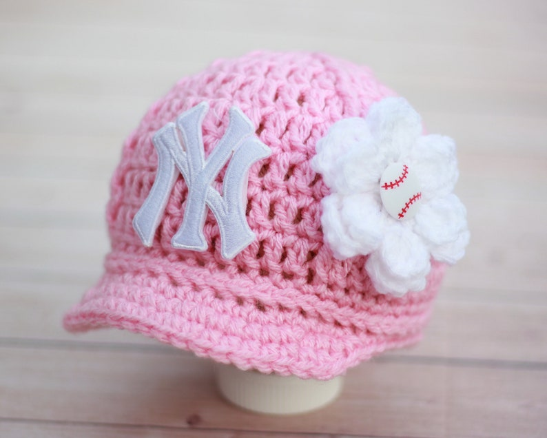 46dbb746719 Baby Girl New York Yankees Cap with Flower Hat Knitted