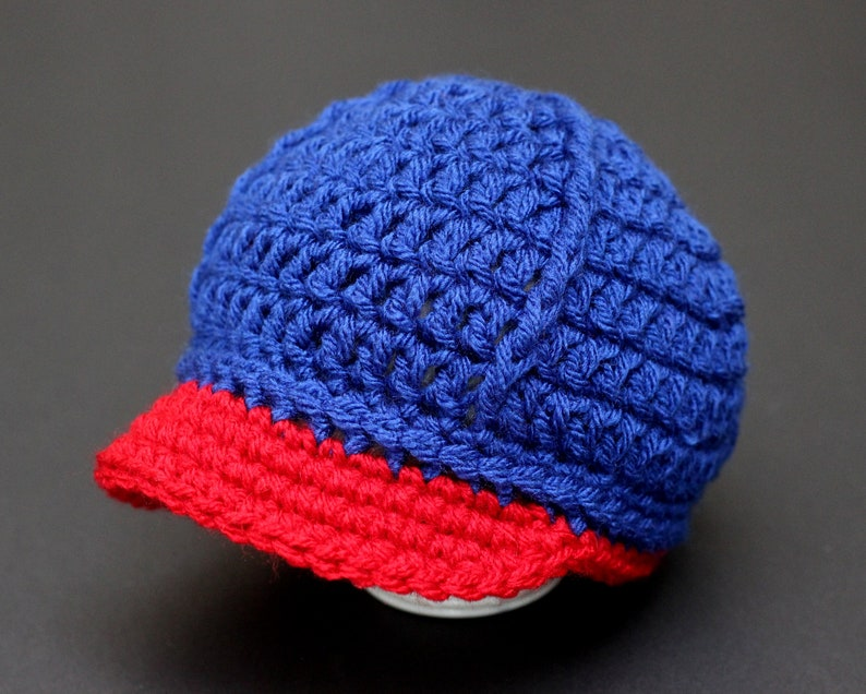 bb4a4ba1e Baby Boy Girl Cap Hat, Royal Blue and Navy, Newsboy, Beanie, Brim, Knit  Crochet, Baseball, Photo Prop, Baby Gifts, Christmas, Newborn, 0-3