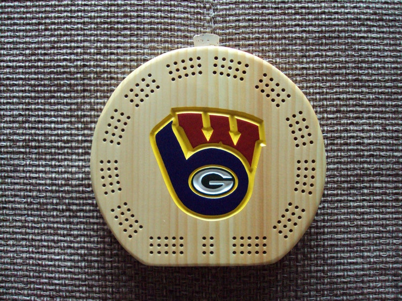 Rustic Cribbage Board Green Bay Packers Milwaukee Brewers  949d38266