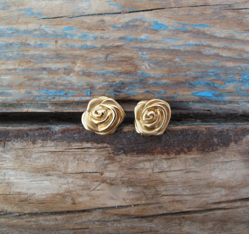 One Pair of Genuine 14K Stamped Yellow Gold Rosebud Stud image 0