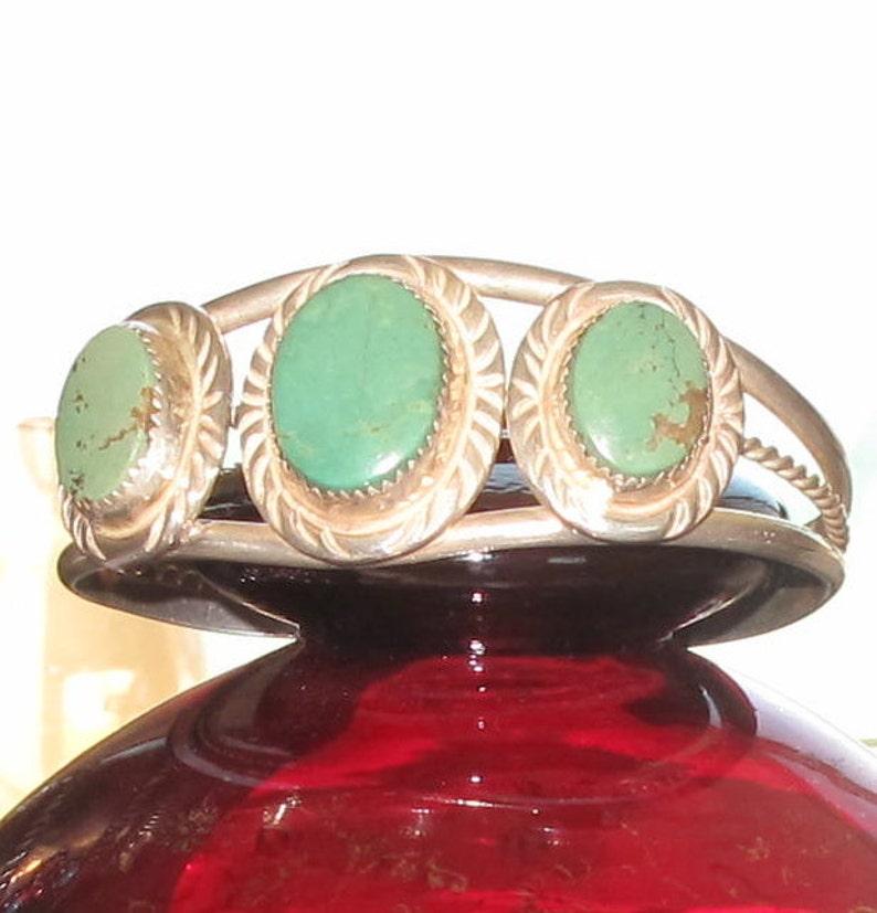 Kingsman Turquoise & Silver Signed Native Indian Bracelet Cuff image 0