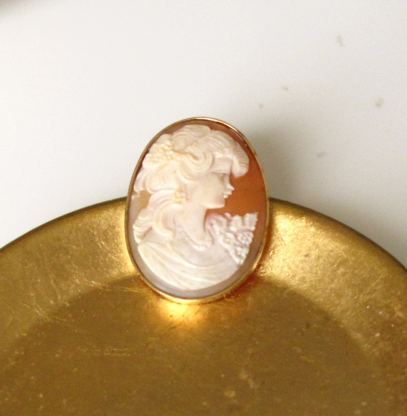Estate Sale 14K Yellow Gold Vintage Cameo Pendant / Pin Brooch image 0