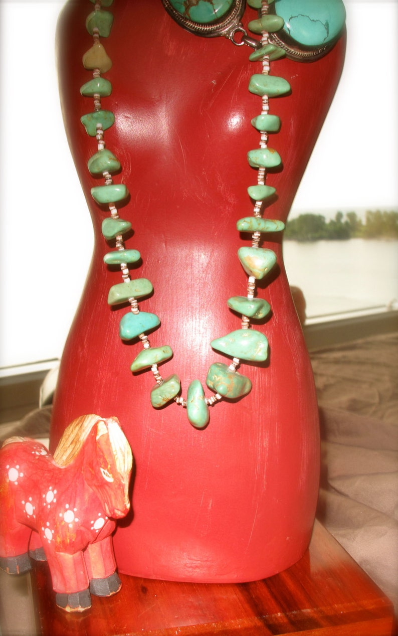 Vintage Native Indian Turquoise Nugget Necklace with Heishi image 0