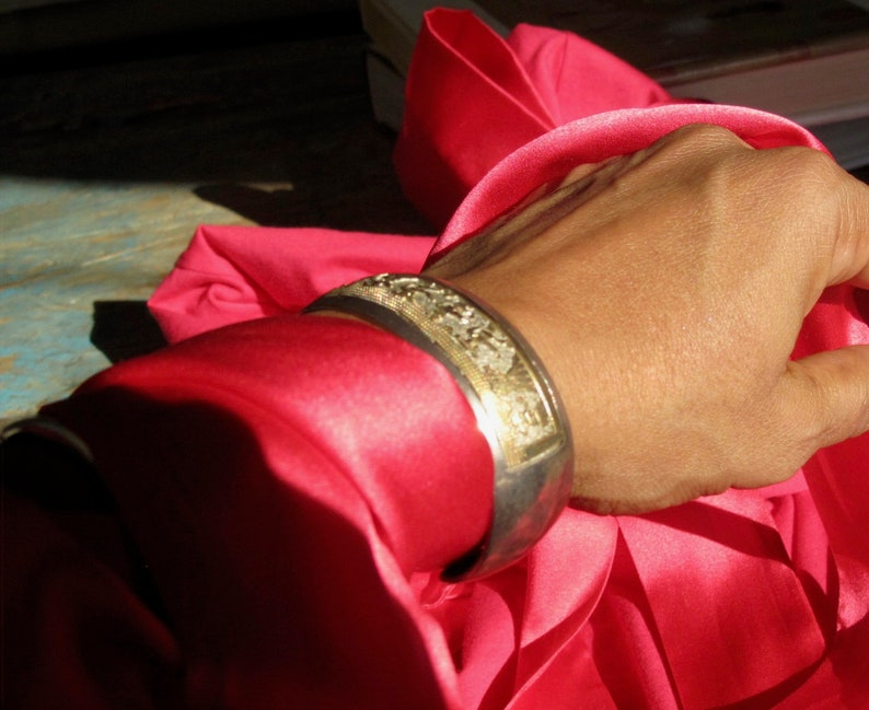 Silver & 14K Gold Native Indian Story Bracelet image 0