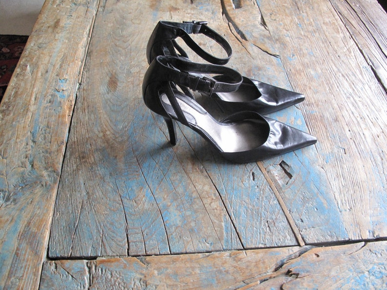 Haute Couture Black Leather Pumps with Ankle Straps Ladies US Size 7 or Euro 37