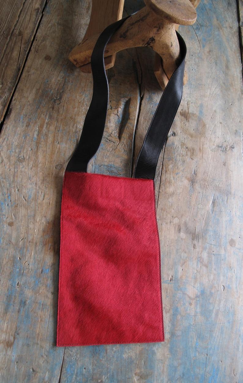 Red Pony & Black Leather Shoulder Bag image 0