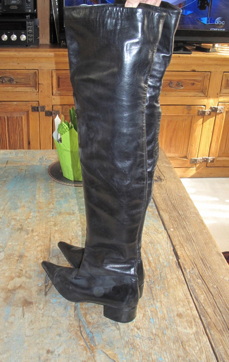 Black Leather Lined Over the Knee Pointed Toe Thigh High Boots Ladies US Size 7.5 Euro 38