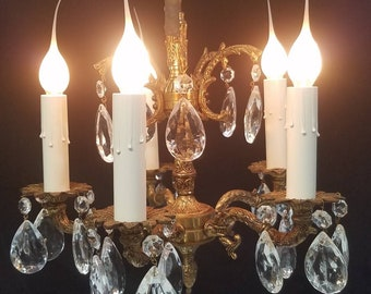 Five Light Vintage Petite Crystal Chandelier, Nice Patina, Perfect for Small Areas DD 1662
