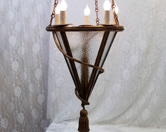 Italian Gold Gilt Frosted Glass Panel Pendant Chandelier, Rope and Tassel Design, Perfect For High Ceilings DD 1488