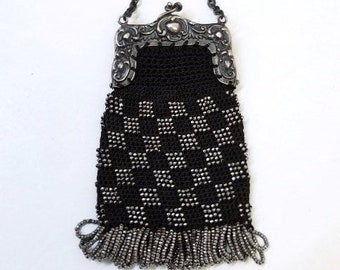 Antique Black Crochet Coin Purse Silver French Steel Cut Beads Finger Ring Dance Purse German Silver Ornate Frame Child's Purse DD 1496