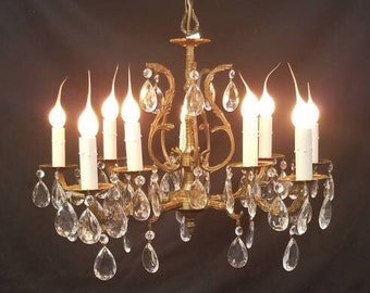 Vintage Ten Light Brass Crystal Spanish Chandelier Five Double Lighted Arms DD 1674