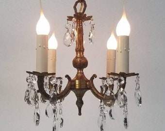 1950s Brass Crystal Petite Chandelier With New Wiring, Perfect for Small Areas DD 1672