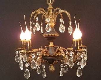 Five Light French Empire Petite Crystal Chandelier, Black Tole and Brass, Waterfall Top DD 1676