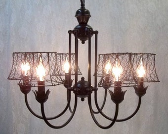 Wire chandelier etsy black iron chandelier black chicken wire lamp shades six light chandelier farmhouse lighting dining room bedroom greentooth Gallery