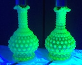Fenton Hobnail Vaseline Glass Lamp Pair Uranium Glass Lamps Opalescent Yellow Topaz Vaseline Glass Bedside Boudoir Lamp Mantle Lamps DD 1404