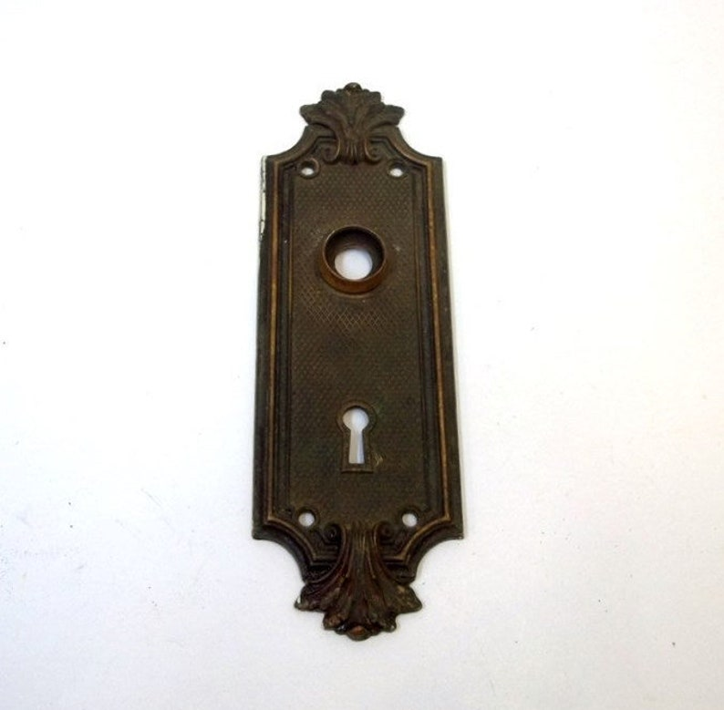 Antique Ornate Brass Door Plate Cast Brass French Door Plate Etsy