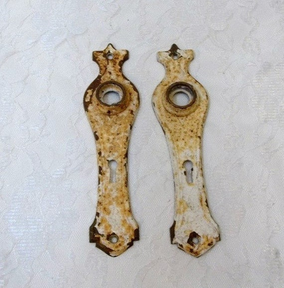 image 0 - Shabby Chic Pair Of Antique Door Plates Rustic Chippy Paint Etsy