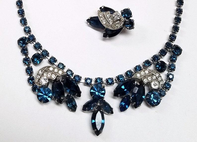 Weiss Blue Rhinestone Necklace and Earring Set Designer Blue Bridal Set DD 1609