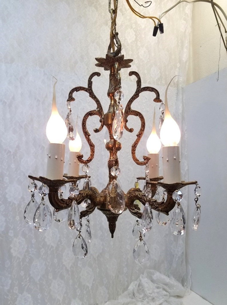 Small brass crystal chandelier four light petite crystal chandelier spanish bathroom chandelier closet chandelier hallway chandelier dd 1499