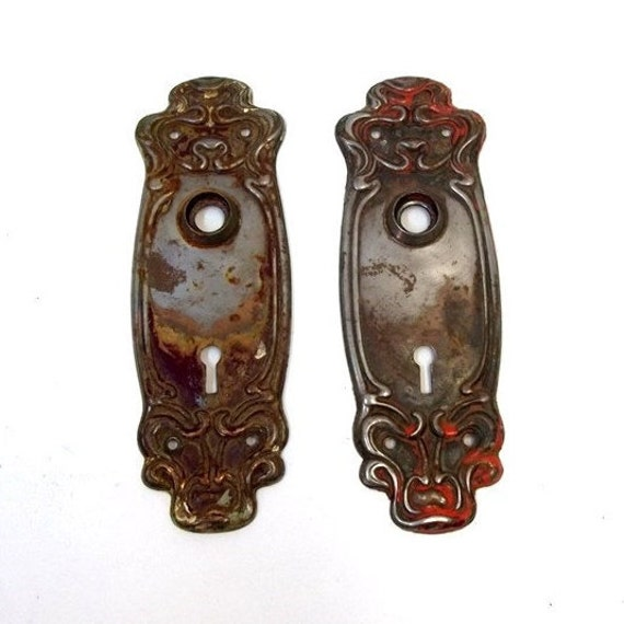 image 0 - Victorian Door Plates Art Nouveau Antique Door Knob Plates Etsy