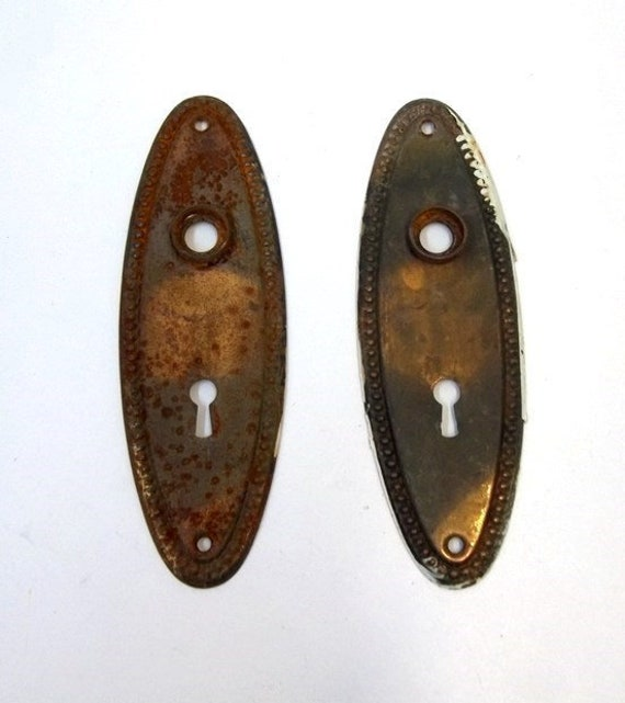 image 0 - Old Oval Door Plates Beaded Design Rusty Chippy Antique Door Etsy