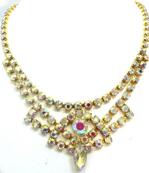 AB Rhinestone Necklace Earring Set Rhinestone Bridal Set Demi  2e66f1903d94