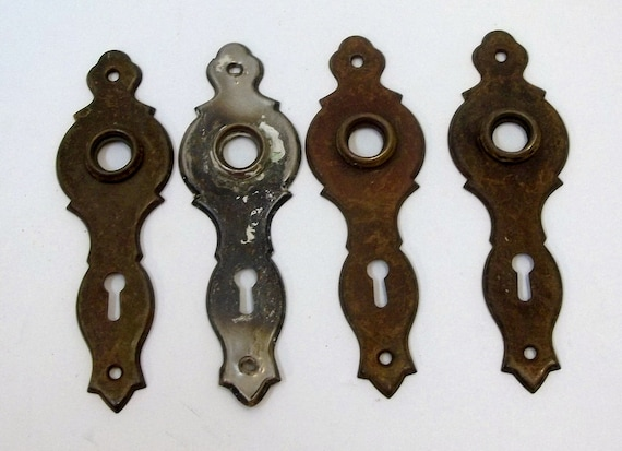 Old Door Hardware Lot Of Four Antique Door Knob Plates | Etsy
