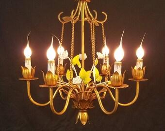 Vintage Six Light Gold Gilt Italian Flower Basket Chandelier Porcelain Roses Twisted Rope DD 1678
