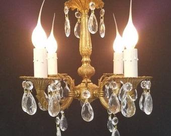 Four Light Petite Brass Crystal Spanish Chandelier, New Wiring DD 1666
