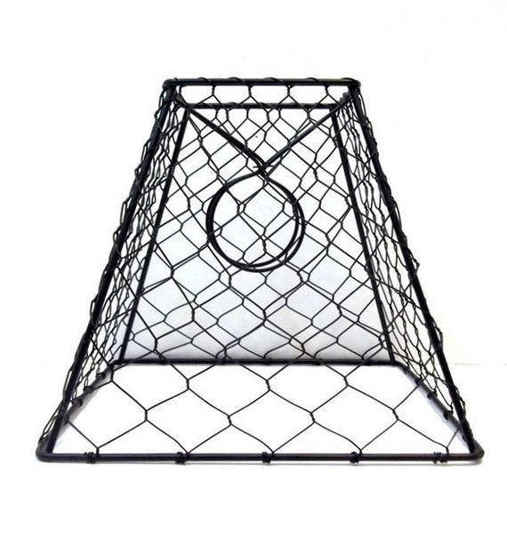 Chicken Wire Lamp Shade 8x7x4 Black Metal Hex Wire Lamp Shade Etsy
