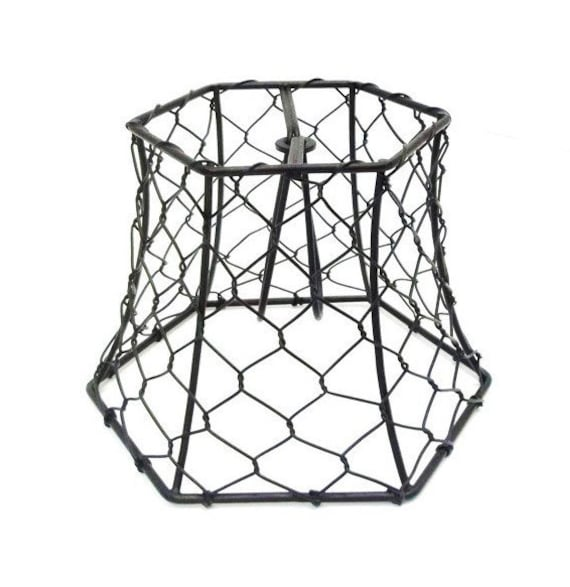 chicken wire lampshade clip on small black hex wire lamp