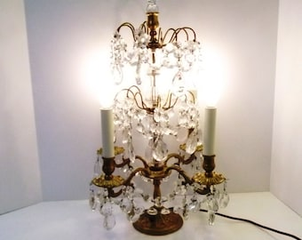 """RESERVED for Ni-1920s Lighted French Crystal Candelabra 24"""" French Table Chandelier Candelabra Rosettes 4 Light Girandole DD 875"""
