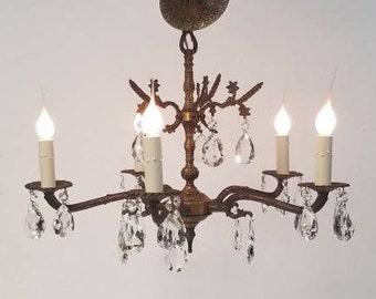 1950s Five Light Spanish Brass Crystal Chandelier DD 1673