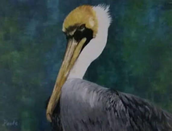 Pelican Print Coastal Art Pelican Painting Pelican Wall | Etsy