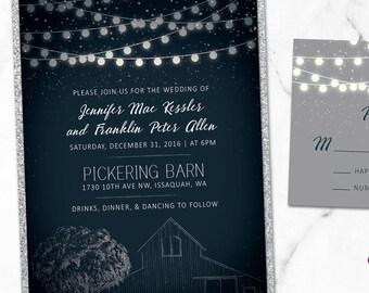 Custom Barn and String Lights Navy Rustic Wedding Invitations