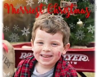 Merriest Christmas Card Holiday Card Merry Christmas XMAS Photo Card