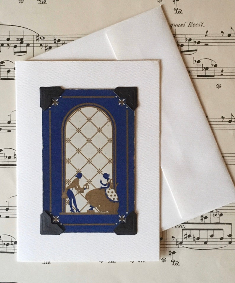 Victorian Fashion Vintage Historical Greeting Card: Featuring an Authentic Vintage Playing Card 1920/'s Courting Couple 1930/'s