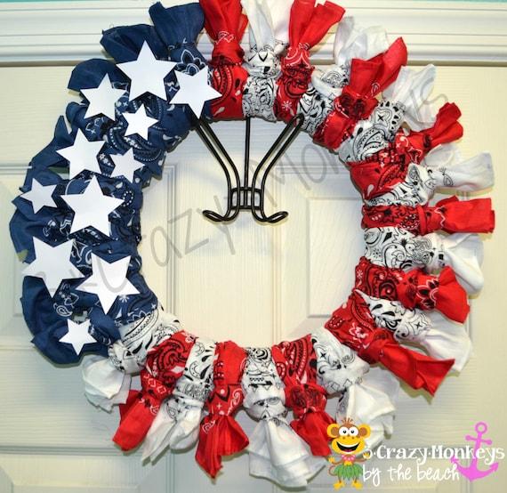Rot Weiss / Blau Amerikanische Flagge Kranz Patriotische