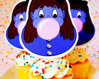 Violet Beauregarde cupcake toppers for Willy Wonka Party