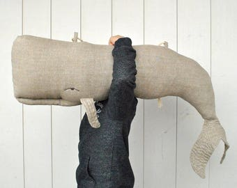 Whale pillow or linen hanging decor on the wall Big stuffed whale decor Animal Pillow Long nautical pillow Whale cushion